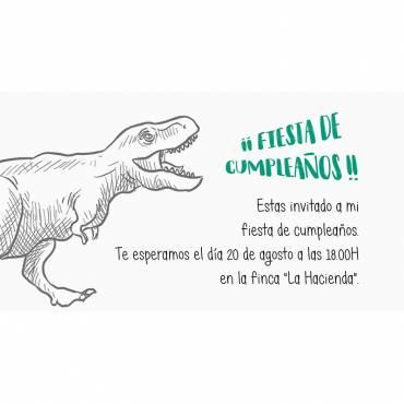 Invitación de cumpleaños  infantil dinosaurio- Parte de atrás